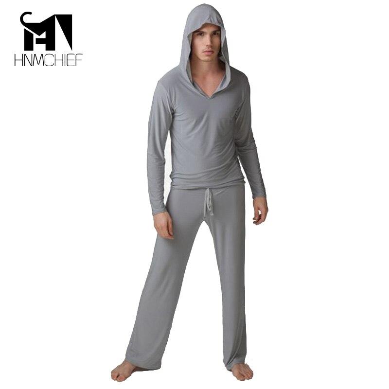 HNMCHIEF Satin for men Casual Silk Pajamas Set Comfortable Sleepwear Pyjamas