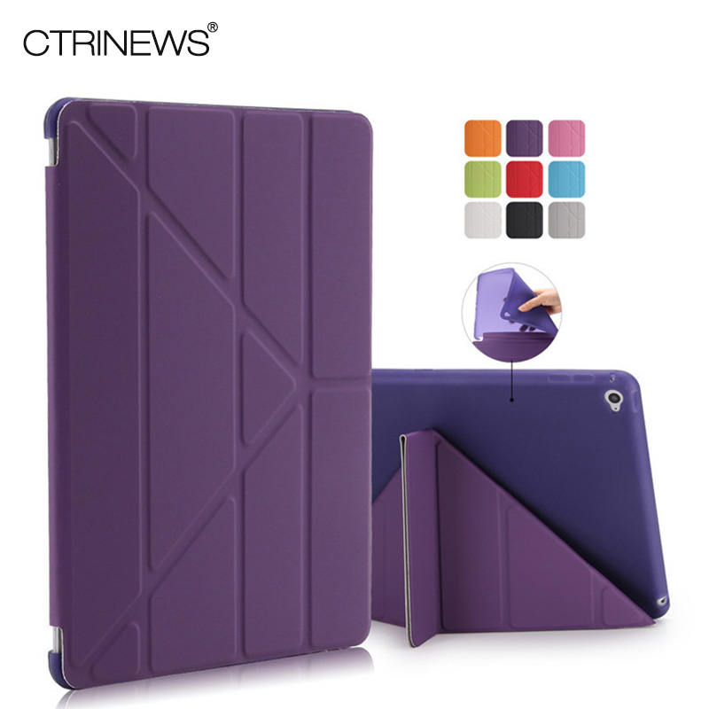 CTRINEWS Cover for Apple iPad Air 2 Smart Leather Case Multi Shape Folding Auto Wake Up Sleep Case for iPad Air 2 TPU Back Cover for ipad air 2 air 1 case slim pu leather silicone soft back smart cover sturdy stand auto sleep for apple ipad air 5 6 coque