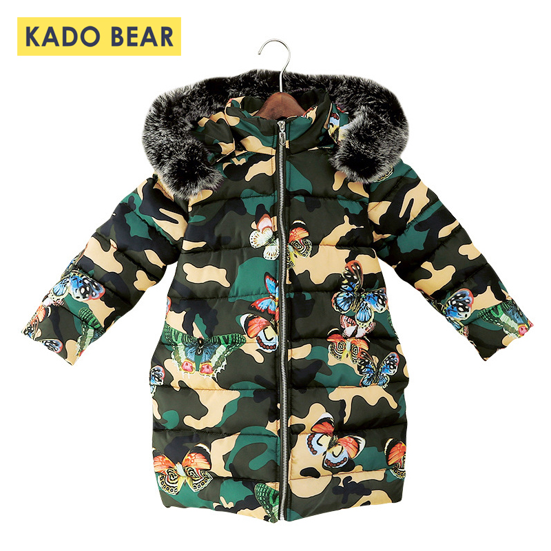 503d6f93e Baby Girl Fur Collar Thick Winter Coat Warm Kids Down Jackets Hooded ...
