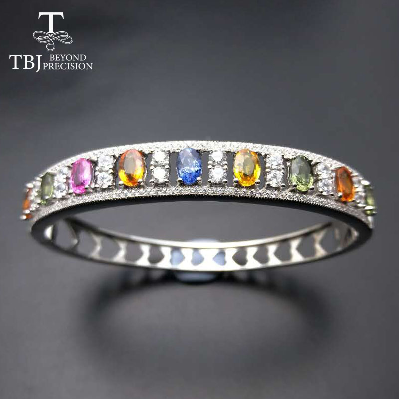 TBJ,Natural Fancy color sapphire oval 4*6mm 4.5ct natural sapphire gemstone bangle in 925 sterling silver for lady with gift box gifted set 26pcs iron box gift tools in fancy and portable silver tone box