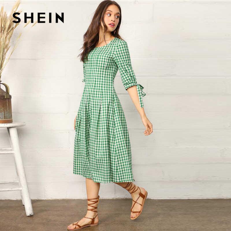 SHEIN опрятный зеленый с узлом манжеты в мелкую клетку подходит и расклешенное Летнее Длинное платье для женщин 2019 трапециевидная плиссированная прерия шик платья