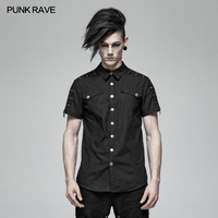New Punk Rave Fashion Casual Black Steampunk Rock Personality Short Sleeve Men's Shirt WY1012