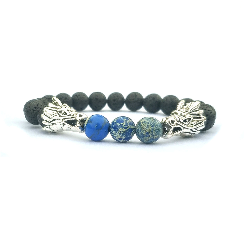 Silver Dragon Beads Black Lava Stone Bracelets For Women Men Classic Natural Elastic Friendship Bracelet Beach Jewelry