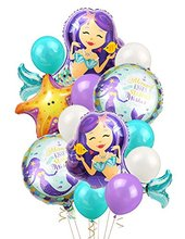 METABLE 1SET Mermaid Balloons Birthday Party Supplies Mylar for Under The Sea theme Decorations