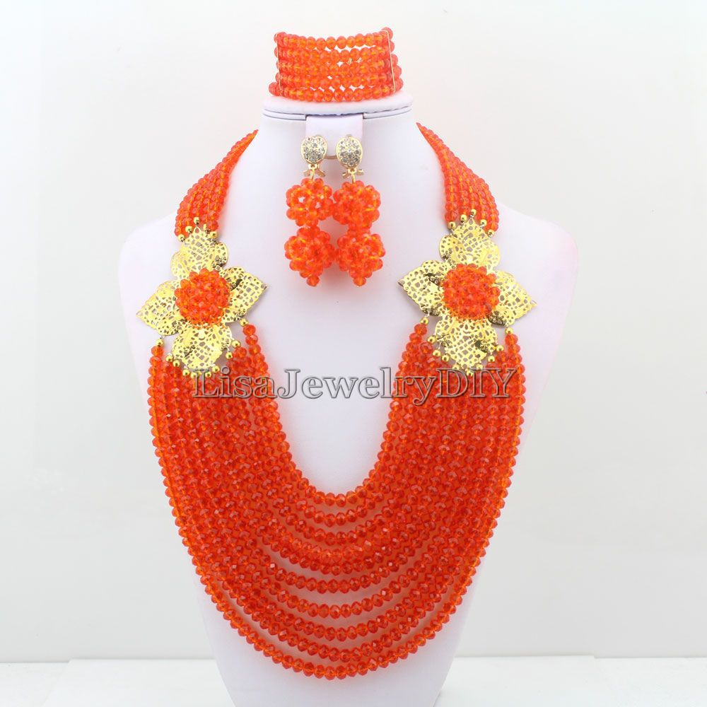 African Beads Jewelry Sets Nigerian Wedding Bridal Jewelry Sets Orange Crystal Beads Necklace Sets HD3340African Beads Jewelry Sets Nigerian Wedding Bridal Jewelry Sets Orange Crystal Beads Necklace Sets HD3340