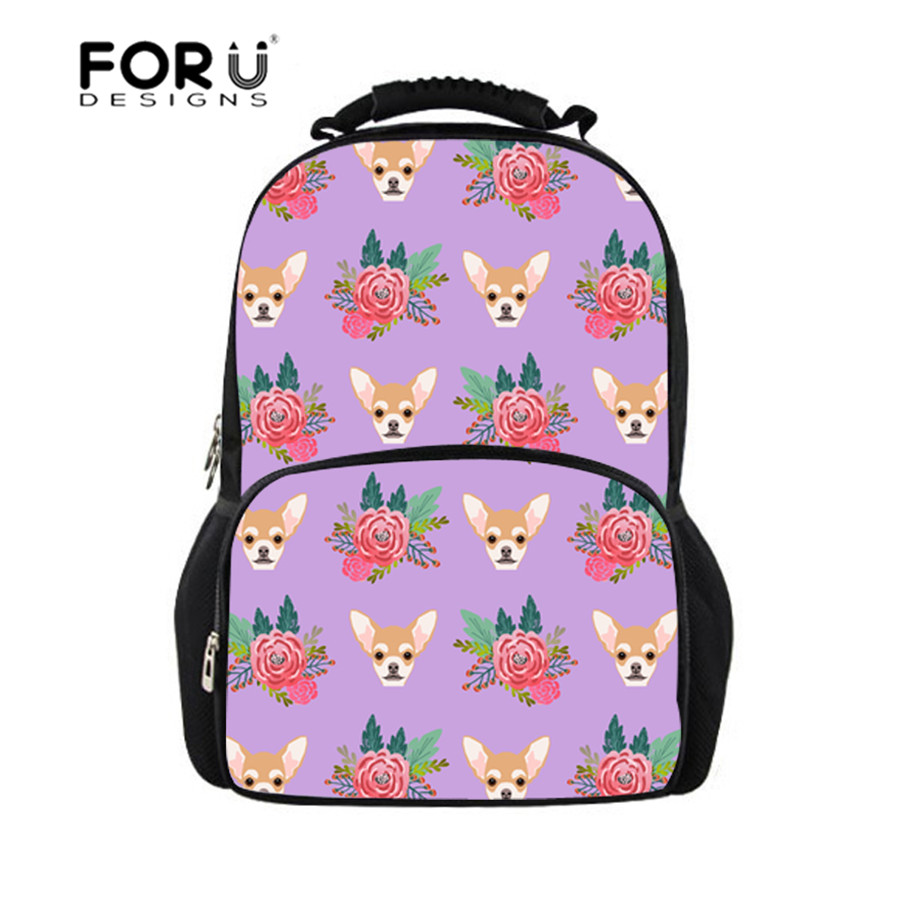 FORUDESIGNS Cute Chihuahua Print School Bags for Girls Teenager Satchel Schoolbag Book Bag School Backpack Kids Mochila Infantil