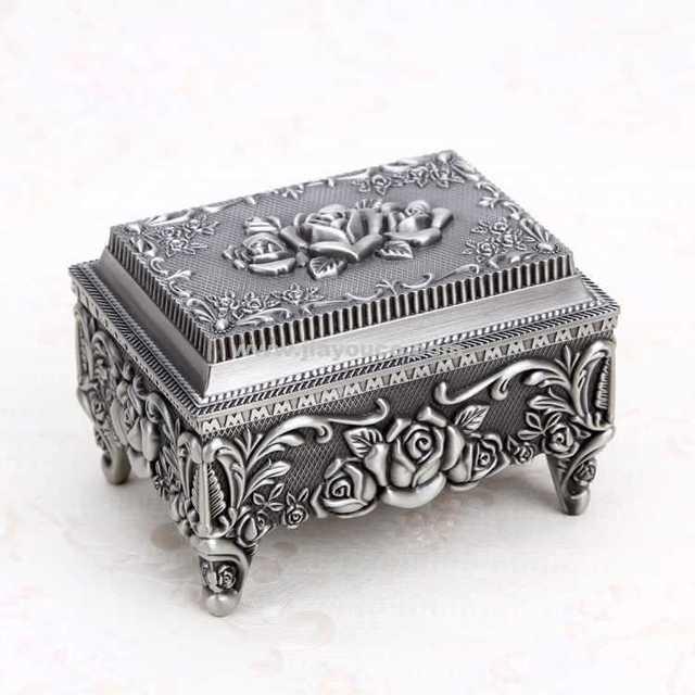 Vintage necklace box metal jewelry organizer antique jewelry gift