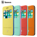 Liquidación, baseus moda joven de colores de cuero case para iphone 6 6 s vista de la ventana cubierta del tirón inteligente para iphone 6 6 s plus Coque