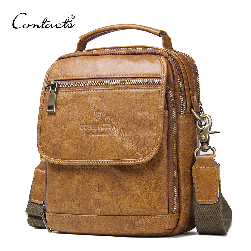 Genuine Leather Zipper Crossbody Bags For Casual Style Men Shoulder Bags With Phone Pocket Male Cow Leathe Flap Messenger BagsGenuine Leather Zipper Crossbody Bags For Casual Style Men Shoulder Bags With Phone Pocket Male Cow Leathe Flap Messenger Bags