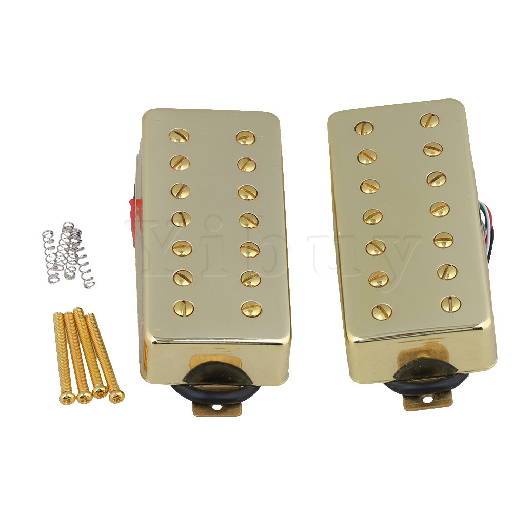 Yibuy Gold Ceramic Magnet Bridge & Neck Humbucker Pickup with Cover for 7-String Electric Guitar Pack of 2 yibuy 5 x zinc alloy 3 string electric cigar box guitar bridge tailpiece gold