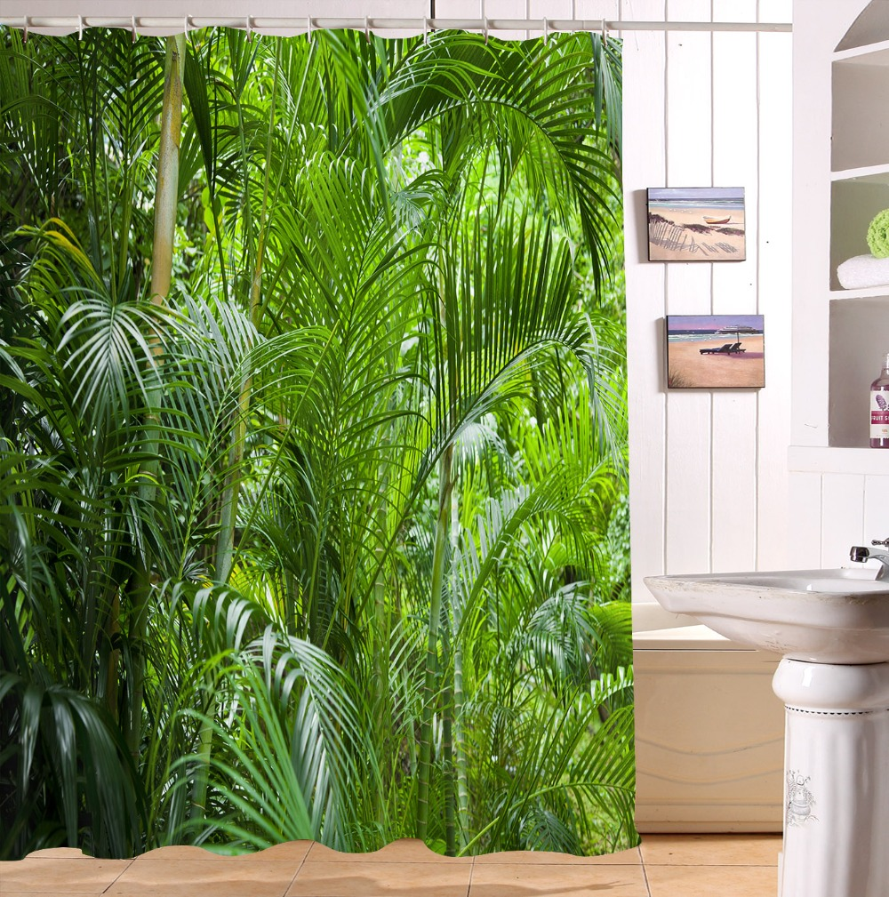 High Quality Tropical Plants Banana Forest Shower Curtain Fabric Waterproof Mildewproof Bathroom Curtain With Hooks Set