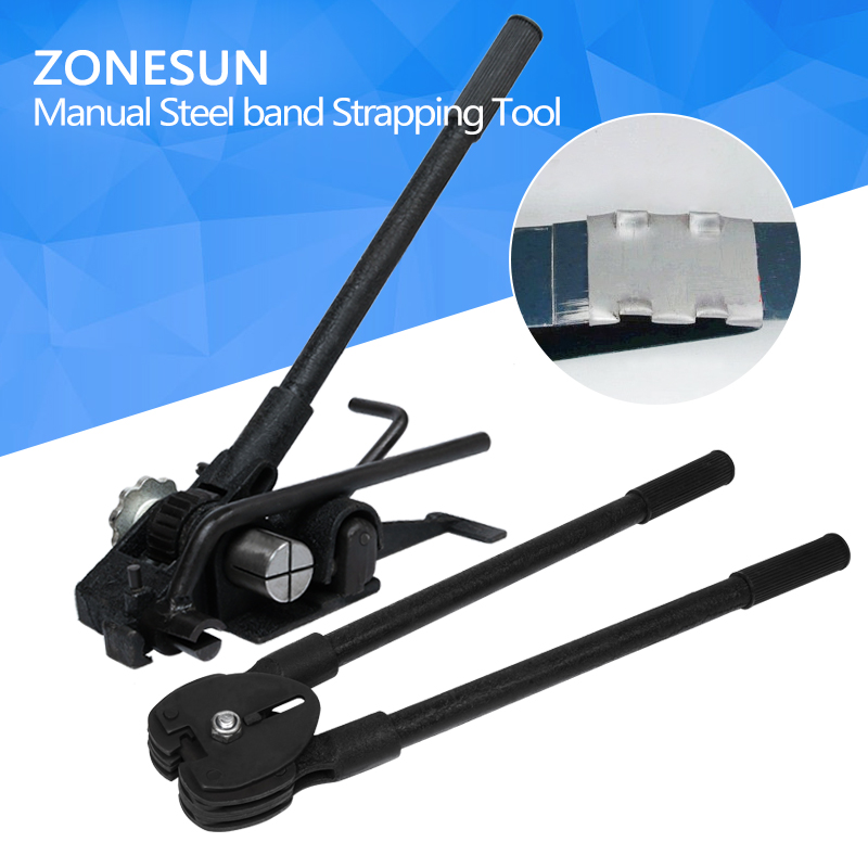 цена на ZONESUN 20mm Manual Steel Strapping Machine Manual Sealless Combination Tool Steel Belt Packing Machine for Steel Straps Banding