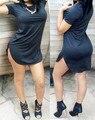 New hot 7 cores mulheres elegent preto curto dress moda irregular de algodão de manga curta dress vestidos verão vestidos casuais sensuais