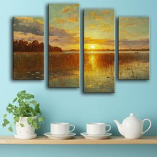 Time-limited Modern Canvas New Product Print Painting Wall 4pc/set Sunset Sky Cloud Sun River Art Picture For Living Room