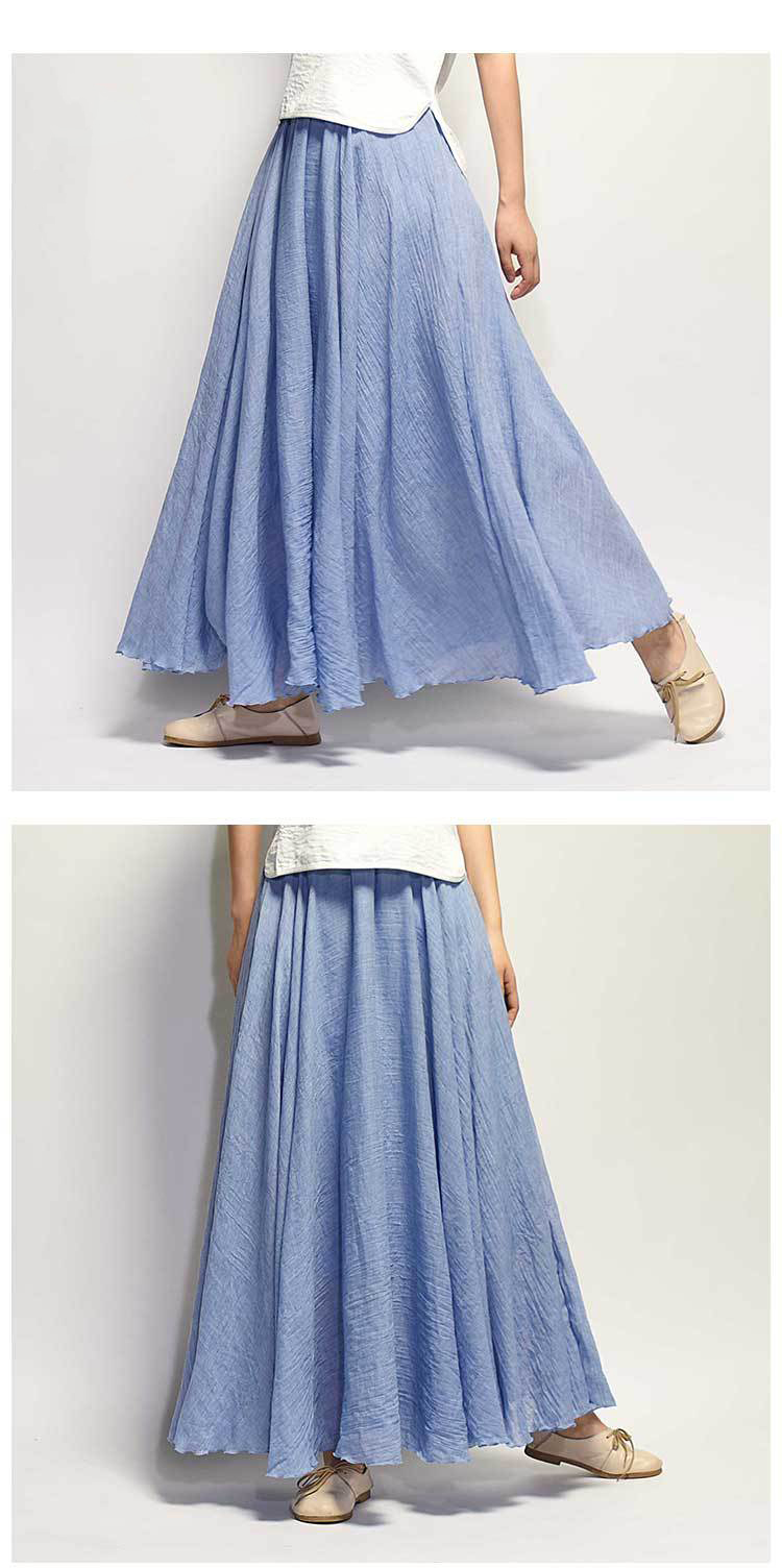 Sherhure 19 Women Linen Cotton Long Skirts Elastic Waist Pleated Maxi Skirts Beach Boho Vintage Summer Skirts Faldas Saia 29