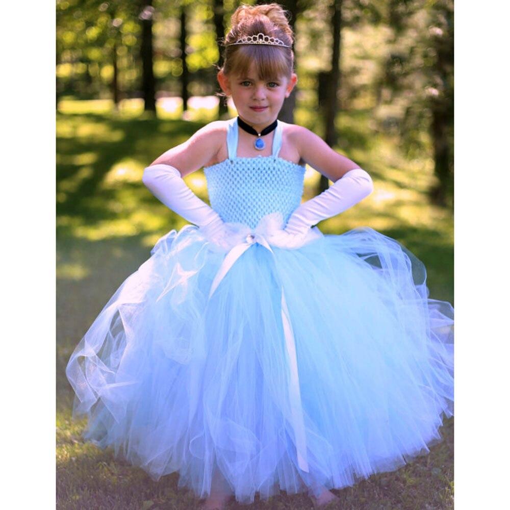 Princess Girl Cinderella Tutu Dress Sky Blue Girls Birthday Party Snow White Cosplay Tutu Dresses For Kids Halloween Photograph