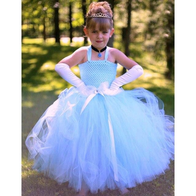 8912460989e Princesse fille cendrillon Tutu robe ciel bleu filles fête d anniversaire  blanche neige Cosplay Tutu