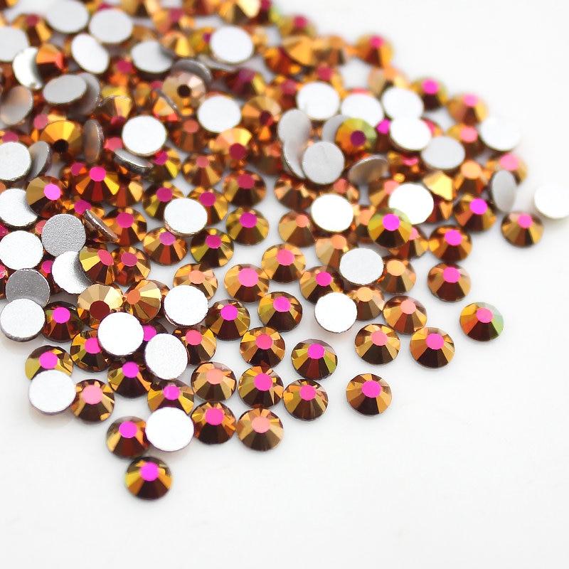 Gold Rose SS3-SS20 3D Nails Art Tips Glass Rhinestone Flatback DIY Nail Deco Beads not hotfix use glue 1440pcs Wedding deco
