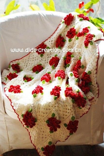 DD1005B Hand Häkeln Baby Roten blumen baumwolle gewebe Weich Decken ...