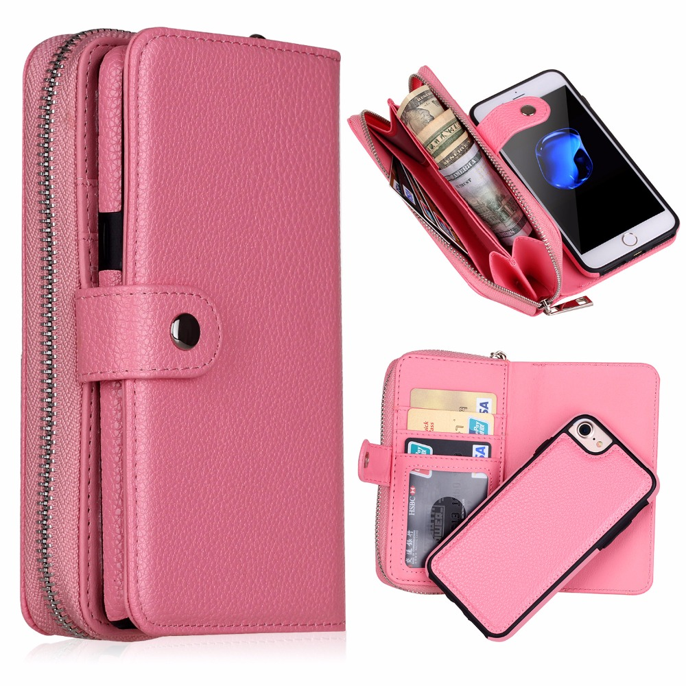 Zipper Leather Wallet Bag Purse Iphone XS Max XR XS X 6 6S 8 7 Plus Samsung Galaxy S8 S9 Plus S7 S6 Edge Note 9 8 5