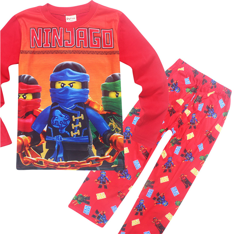 kids Boys Clothes Autumn Children Sleepwear Moana batman ninja ninjago Clothing pokemon Long sleeve t shirts +  Pants 2 pcs Set