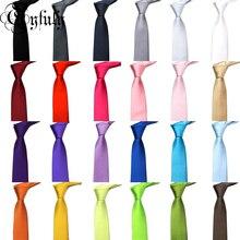hot deal buy qyfuly solid color slim tie fashion design new ties for men wedding necktie paisley corbatas party gravatas neck tie
