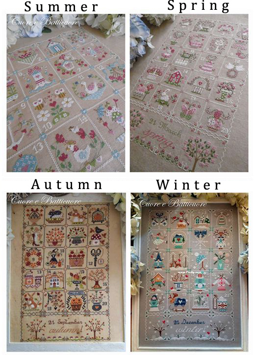 Gold Collection Lovely Counted Cross Stitch Kit Calendar Quartet Spring Summer Autumn Fall Winter
