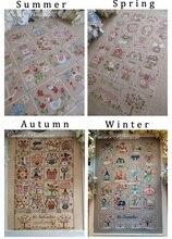 Collection or, joli Kit de points de croix comptés, calendrier quatuor, printemps, été, automne et hiver