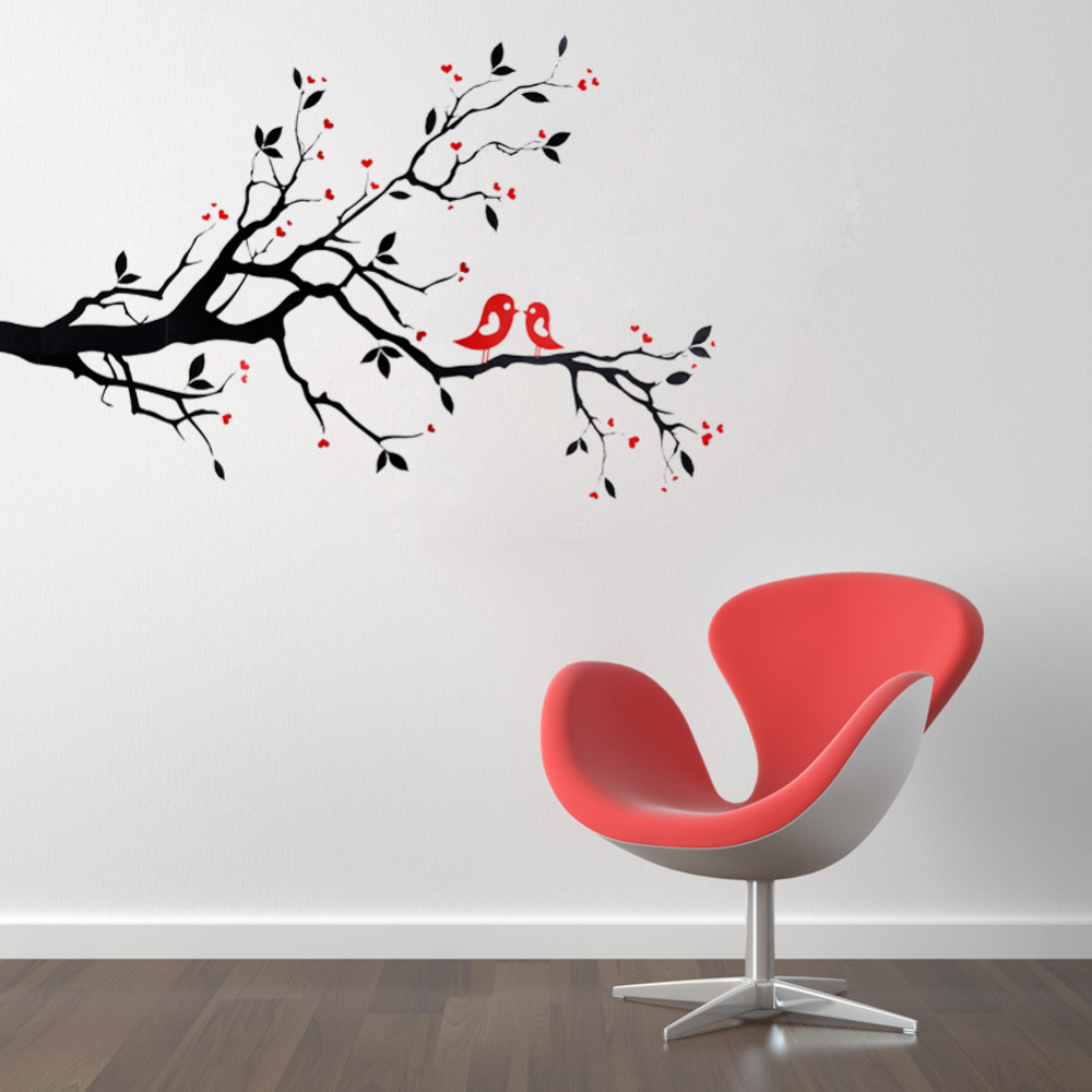 art mural wall sticker home office bedroom decor vinyl wall stickers decal love heart tree bird