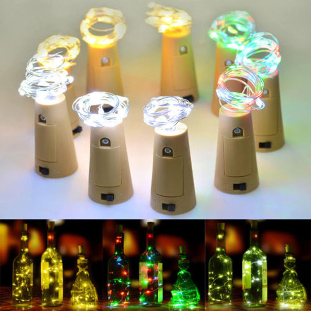 8LED Copper Wire Wine Bottle Cork Shape Light Starry Light Wedding Decor Fairy Lights Battery Top Wedding Christmas Decor NEW