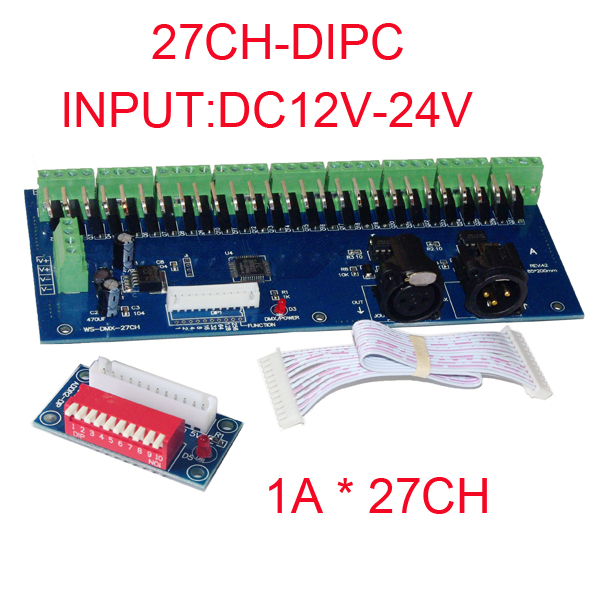 WS-DMX-27CH-DIPC led decoder DMX512 XRL 3P DC12V-24V 1A*27CH led dimmer, controller,drive for RGB led strip lightsWS-DMX-27CH-DIPC led decoder DMX512 XRL 3P DC12V-24V 1A*27CH led dimmer, controller,drive for RGB led strip lights
