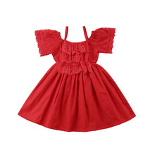 2018 Kid Baby Girl Dress Princess Red Lace Floral Party Dress Bridesmaid  Solid Summer Clothes 4ac08fdce8ee