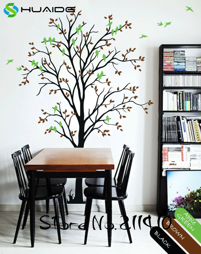 Spring tree wall decals large tree with birds wall for Personalized home decor