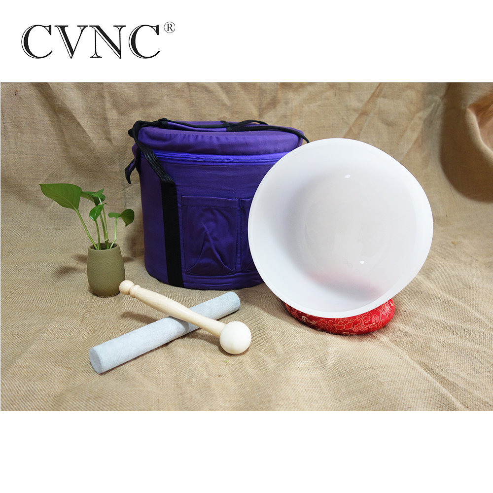CVNC 7 Chakra note C Frosted Crystal Singing Bowl with a Canvas Bag and a Cushion Pad  CVNC 7 Chakra note C Frosted Crystal Singing Bowl with a Canvas Bag and a Cushion Pad