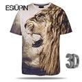 ESIUPIN 2017 Nuevo Estilo León de Impresión Camiseta de Los Hombres/Mujeres de la Marca Camiseta Del O-cuello de Manga Corta 3d T shirt camiseta de Verano Remata camisetas