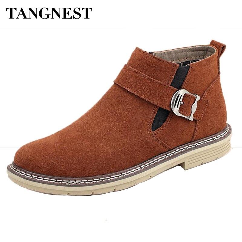 Tangnest/осенне-зимние ботинки «Челси» для мужчин, повседневные замшевые ботильоны, утепленные мехом внутри, резиновые ботинки, ковбойская обу...