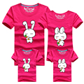 Ming Di Little Rabbit Family Matching Outfits T Shirt 2017 Cartoon Short Sleeve Cotton Family Look Girl Mother Dad Son Clothing
