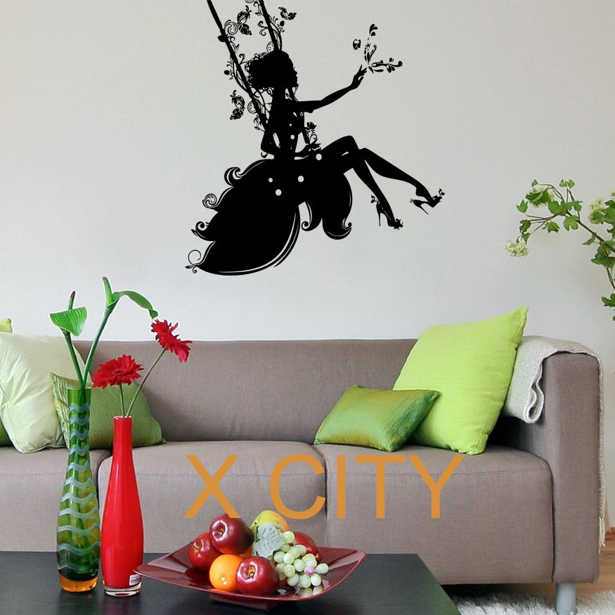 Online Shop Beautiful Silhouette Fairy Girl On A Swing Floral Patterns  Design Wall Decal Vinyl Sticker Art Decor Children Bedroom | Aliexpress  Mobile