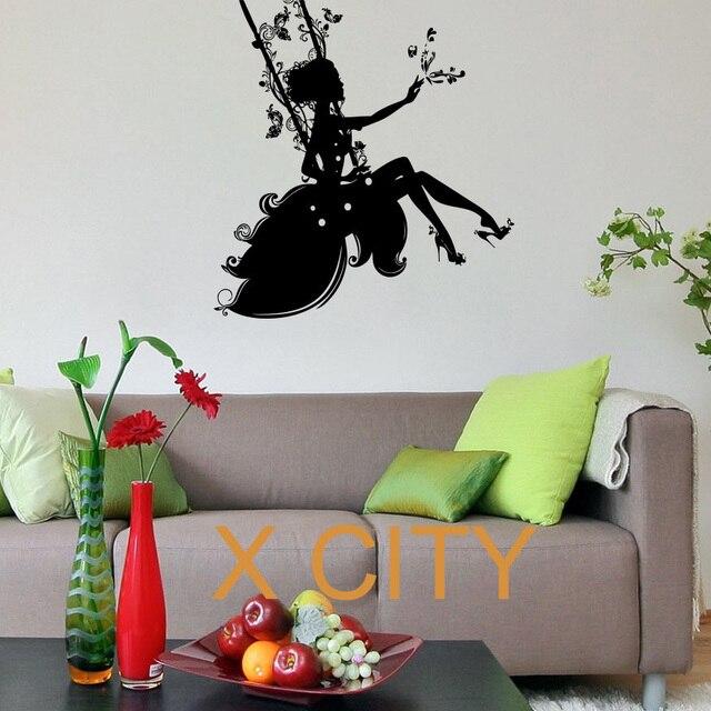 Aliexpresscom Buy Beautiful Silhouette Fairy Girl on a Swing