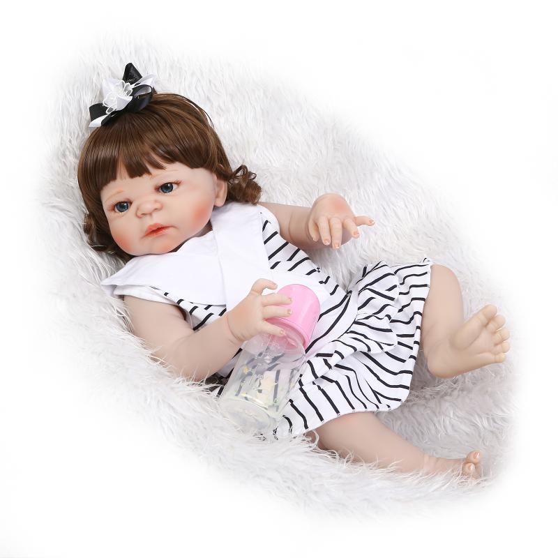 NPK 22 reborn Baby Doll full body Soft Silicone dolls reborn brown wavy hair Lifelike real born dolls bebe gift reborn bonecas цена