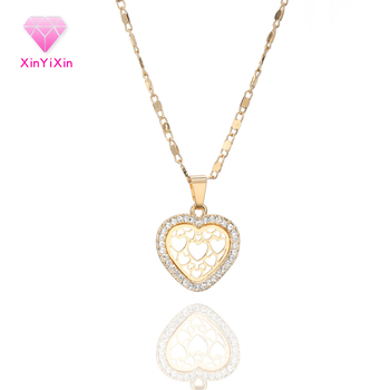 Fashion Hollow Heart Crystal Pendant Choker Necklace For Women Gold Wedding Engagement Jewelry Party Necklace collar mujer