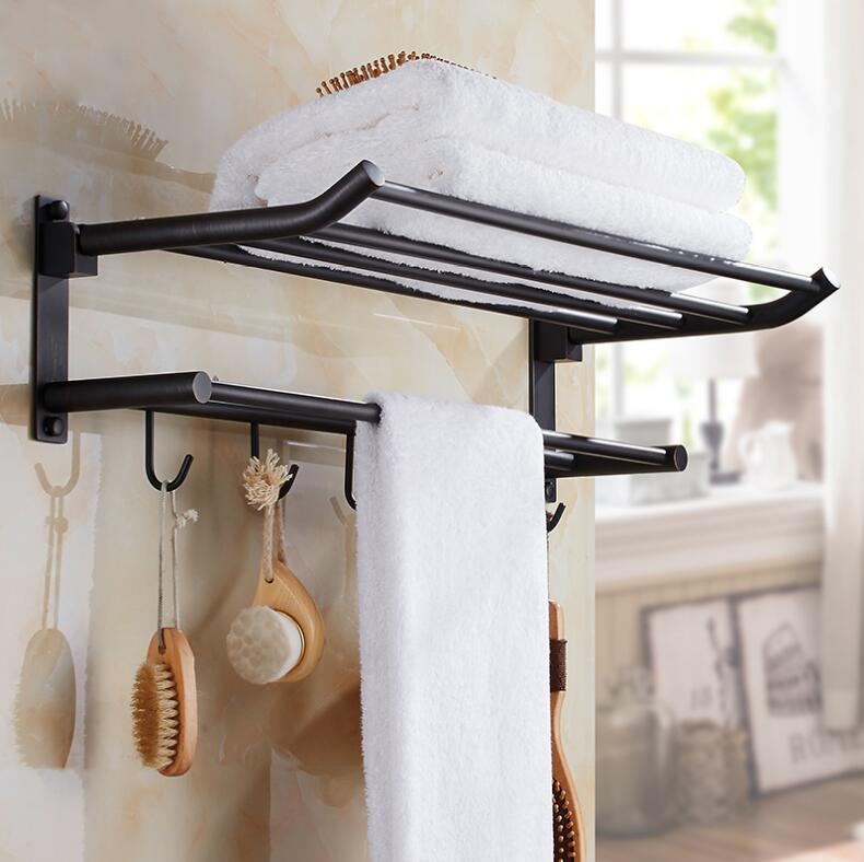 50cm Black Oil/Antique Bathroom Towel Rack Folding Movable Bath Towel Holder Bar Hotel Home Bathroom Storage Rack Shelf modern chrome fixed bath towel holder with hooks stainless steel towel rack holder for hotel or home bathroom storage rack shelf