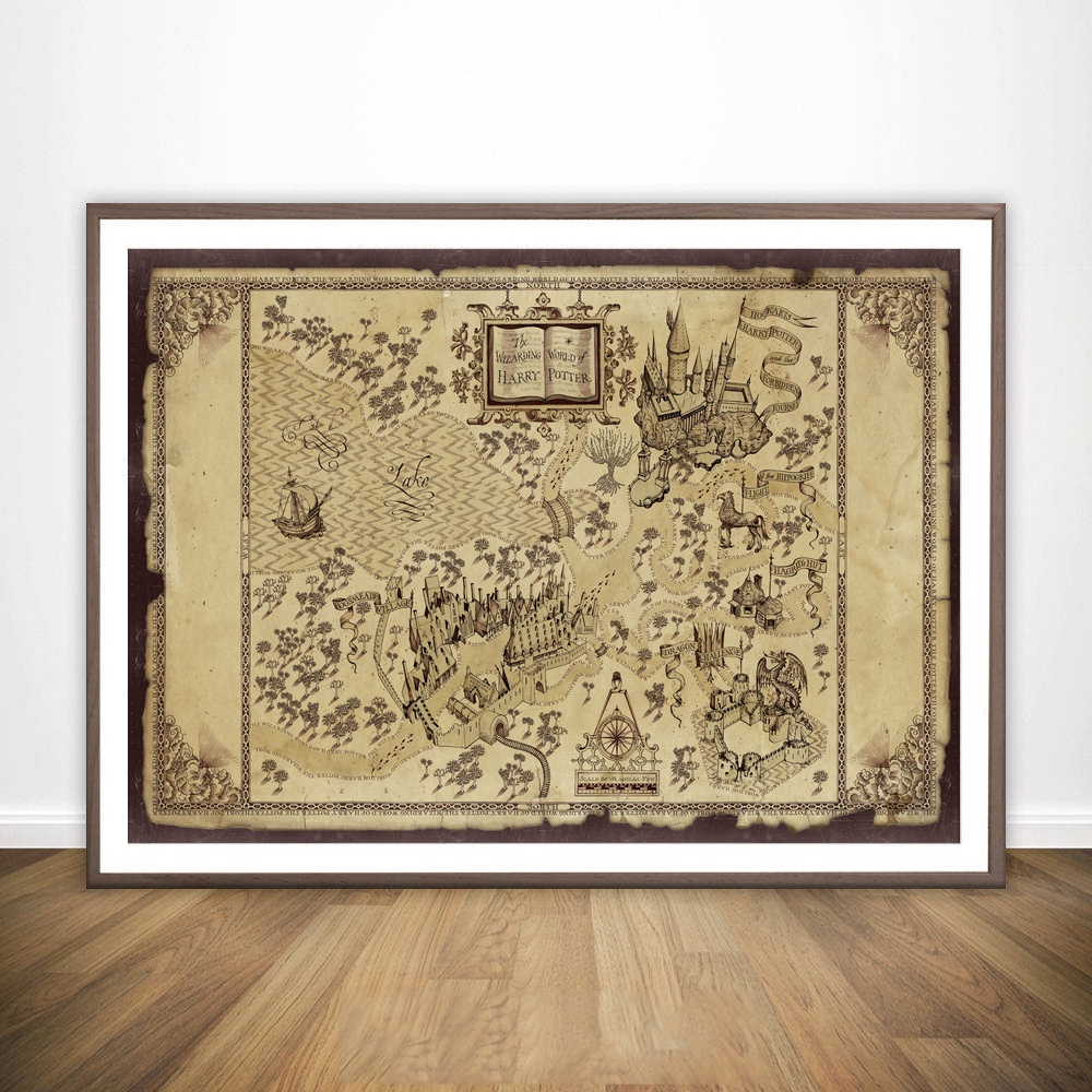 Wizarding World of Harry Potter Map Movie Wall Art Wall Decor Silk ...