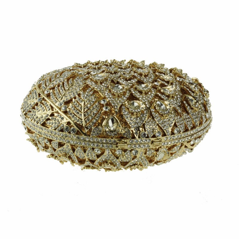 round crystal clutch bag golden5