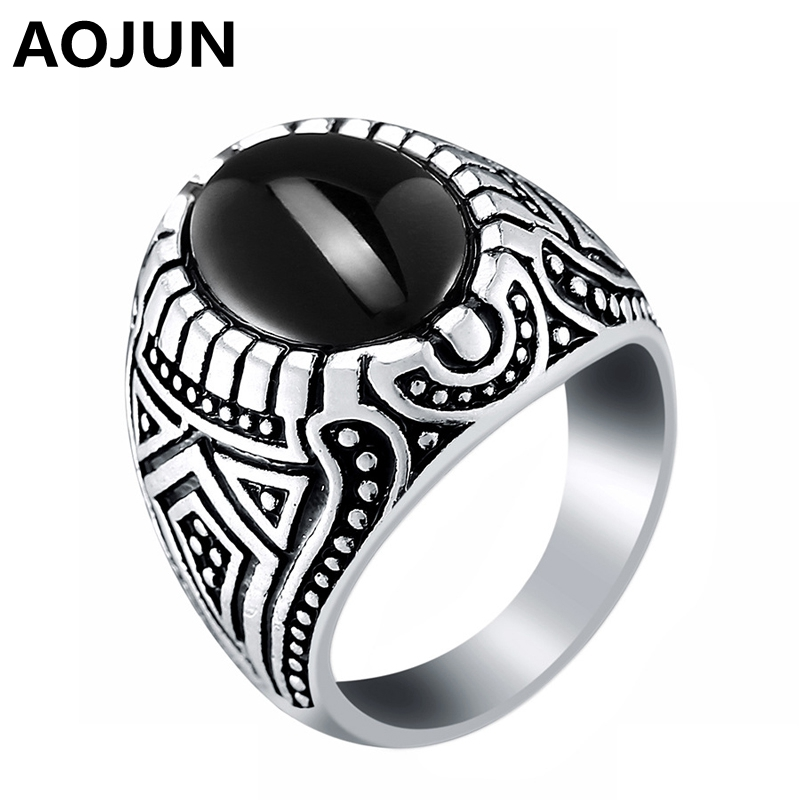 AOJUN Vintage Islam Male Rings Antique Silver Plated Big Black Carved Stone Resin Ring For Men Women Wedding Jewelry 2017 New