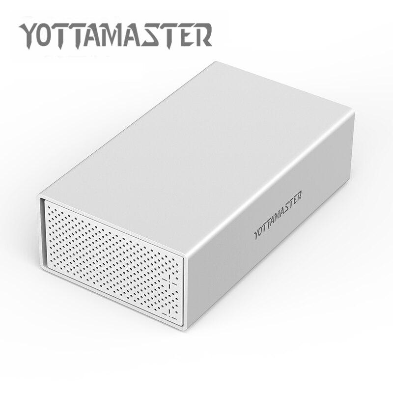 Caja de disco duro Yottamaster RAID de doble bahía de 3,5 pulgadas tipo C USB3.1 10 Gbps Sata3.0 soporte de caja de disco duro de 20 TB UASP