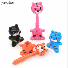 1PCS Cartoon Telescopic Tiger Ballpoint Pen Toy 1.0mm Animal Funny Ball Pens Prize For Office School Supplies For Childs Gifts 1pcs flexible ball pen cute soft plastic bangle bracelet ballpoint pens school office gifts