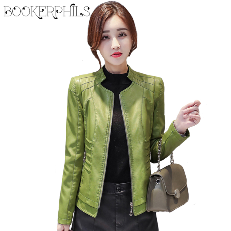 Female   Leather   Coat Winter Autumn 2019 Plus Size Short Zipper Soft Faux   leather   Jackets Motorcycle Outerwear Women Clothing 4XL