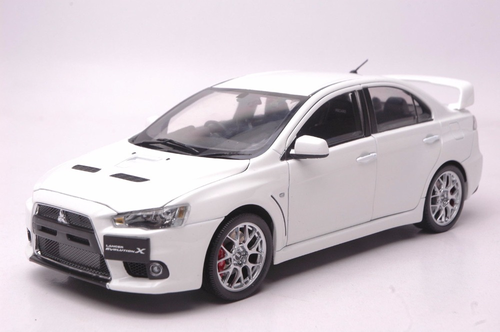 1:18 Diecast Model for Mitsubishi Lancer EVO X 10 BBS Wheels White Alloy Toy Car Miniature Collection Gifts Evolution do less get more