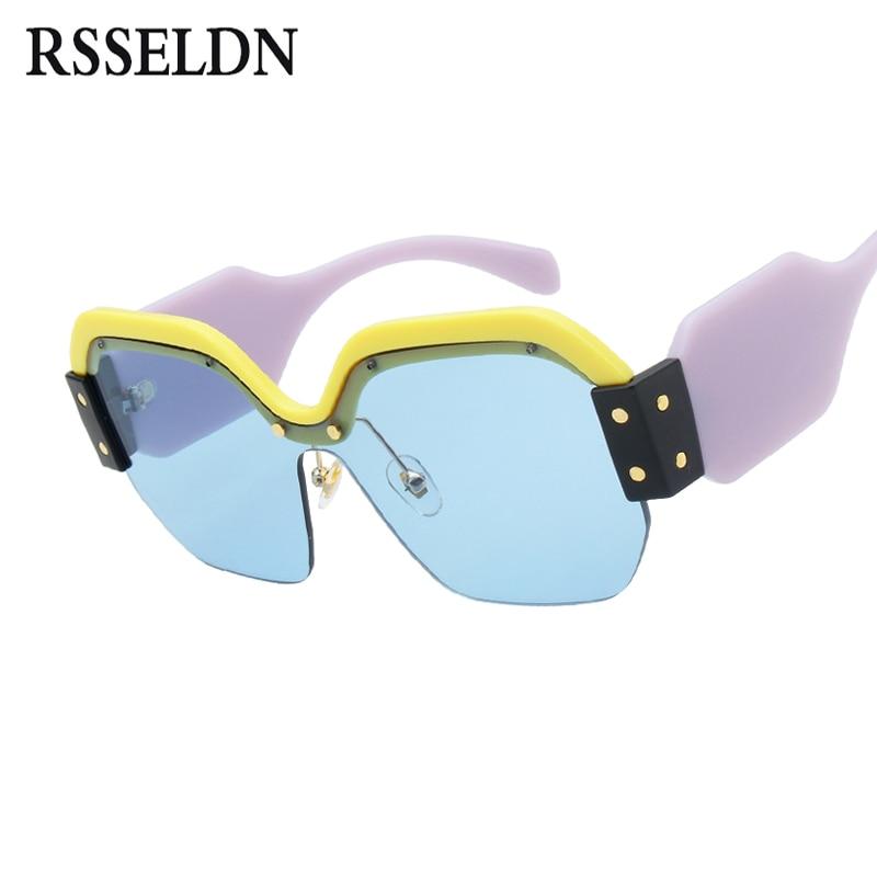 5e97b8085a24 RSSELDN Newest Half Frame Sunglasses Women Brand Designer Square Sun  glasses Women Fashion Sunglass Men Blue Integrated Shades.
